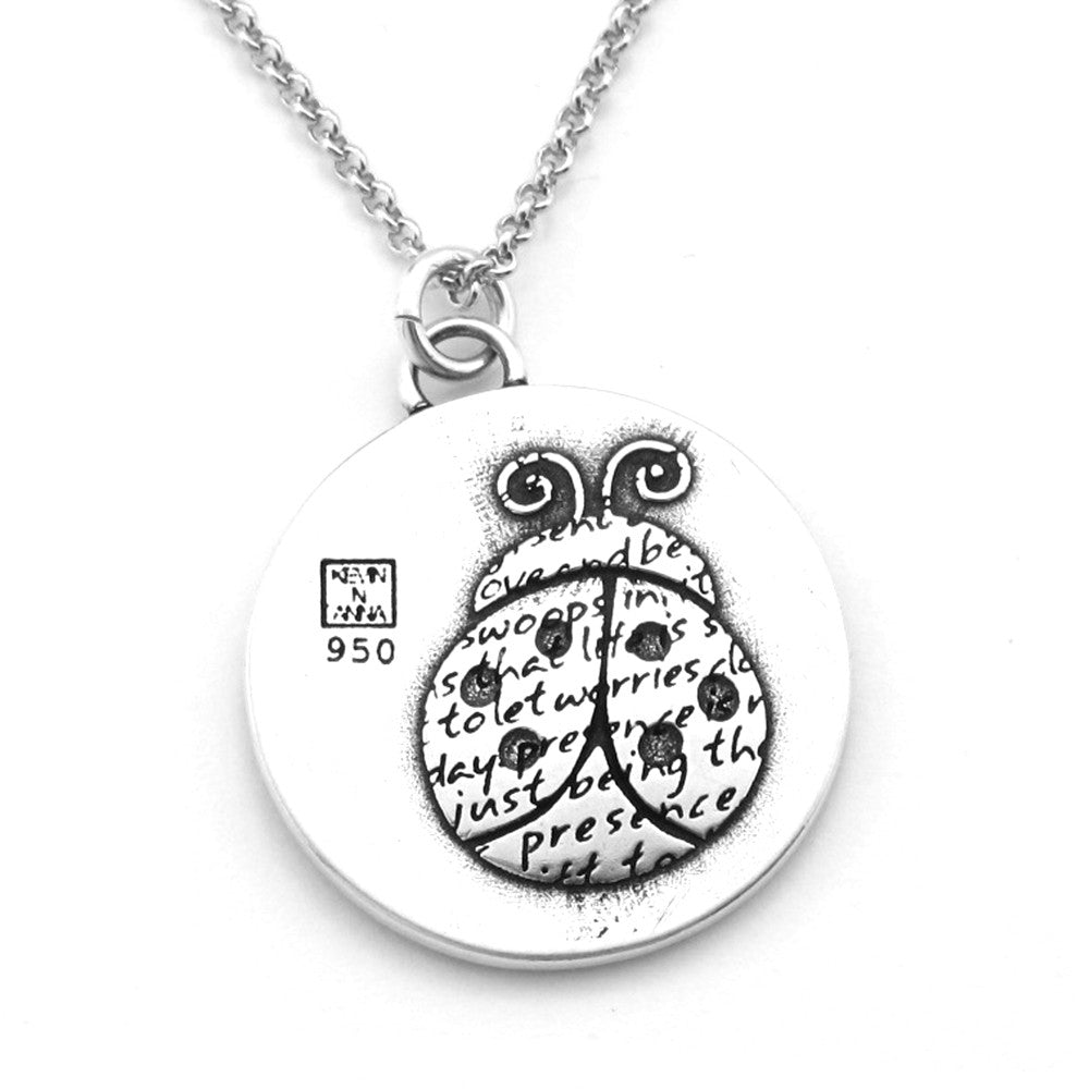 Ladybug Sterling Silver Large Pendant Necklace (Presence quote) - Kevin N Anna