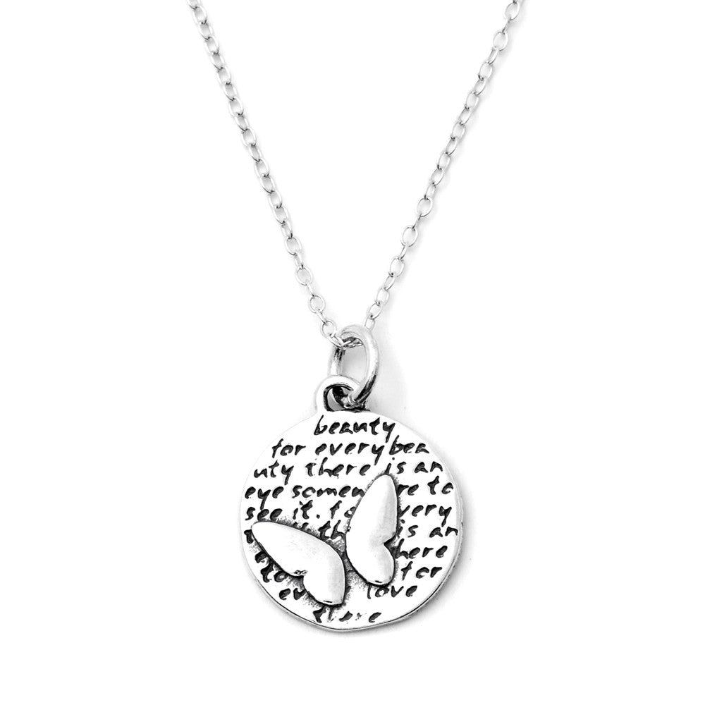 Butterfly Sterling Silver Small Pendant Necklace (Beauty quote) - Kevin N Anna