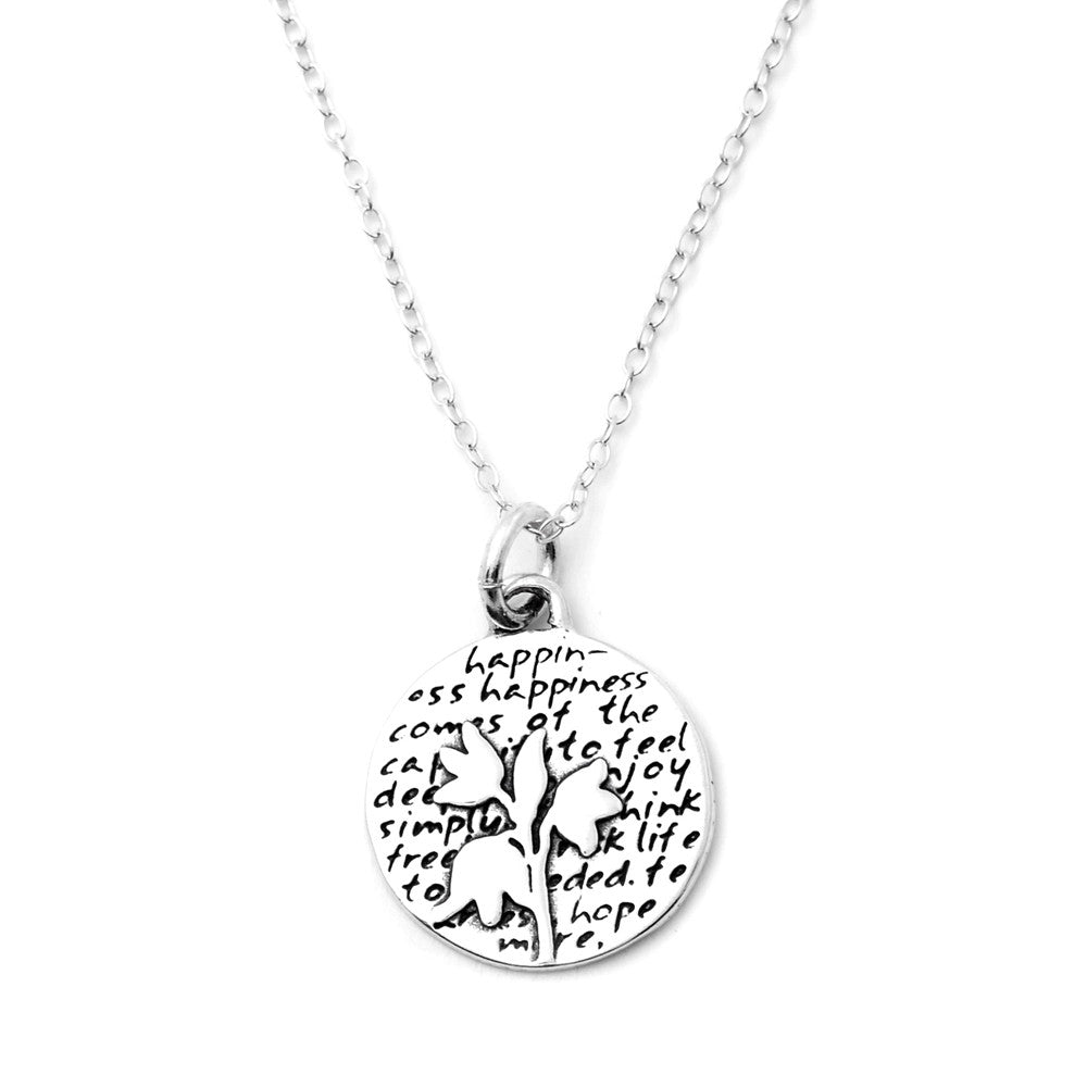 Flower Sterling Silver Small Pendant Necklace (Happiness quote) - Kevin N Anna