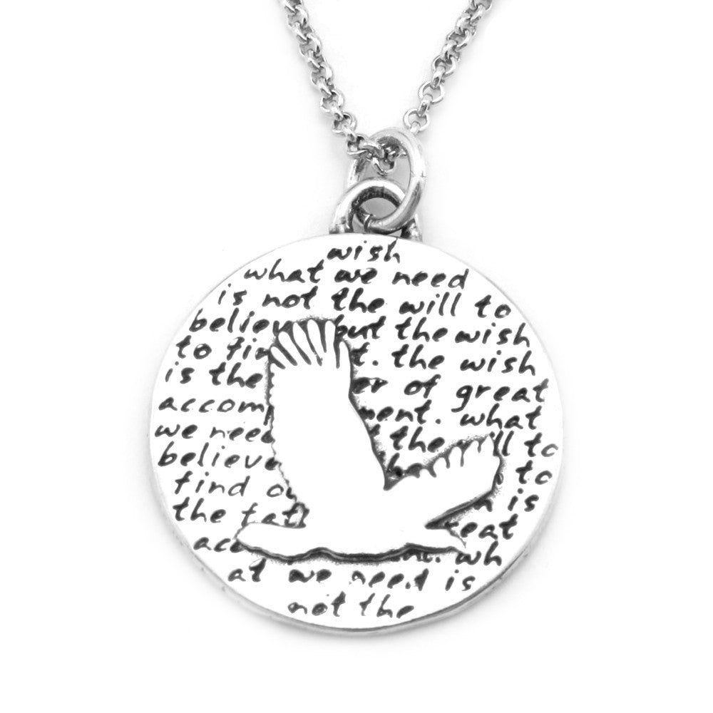 Eagle Sterling Silver Large Pendant Necklace (Wish quote) - Kevin N Anna