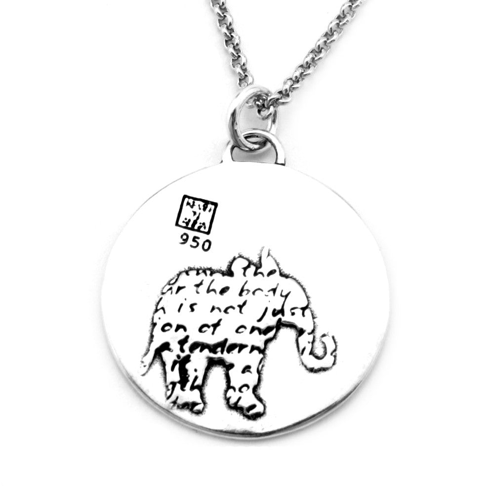 Elephant Sterling Silver Large Pendant Necklace (Strength quote) - Kevin N Anna