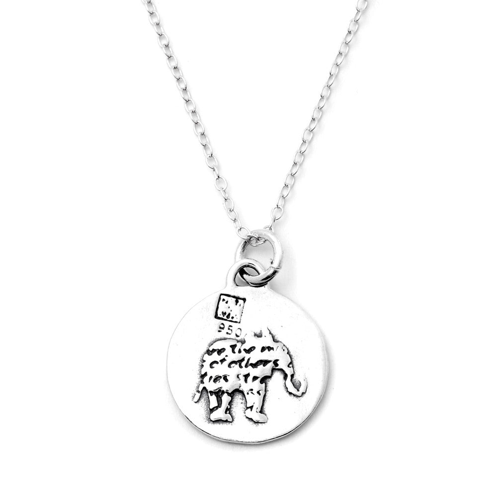 Elephant Sterling Silver Small Pendant Necklace (Strength quote) - Kevin N Anna
