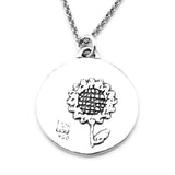 Sunflower Sterling Silver Large Pendant Necklace (Pride quote) - Kevin N Anna