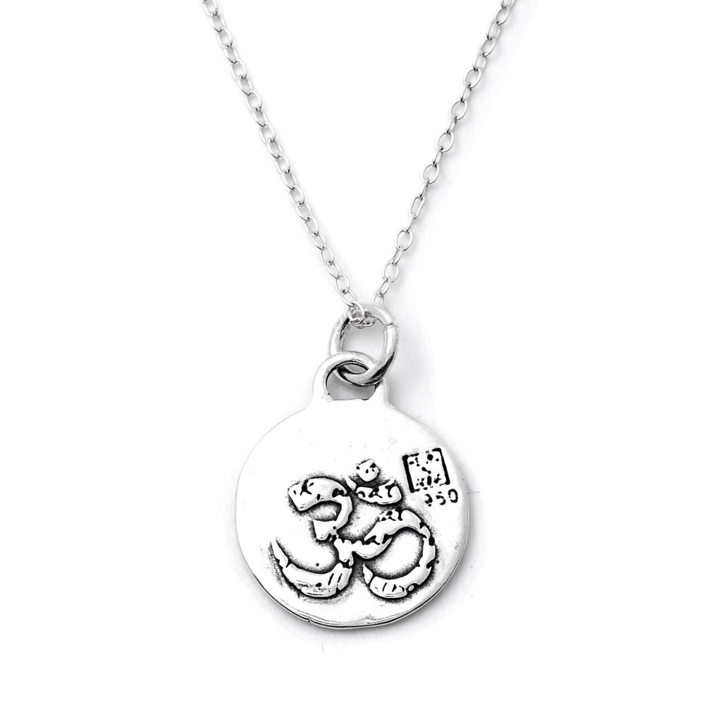 OM Sterling Silver Small Pendant Necklace (Harmony quote) - Kevin N Anna