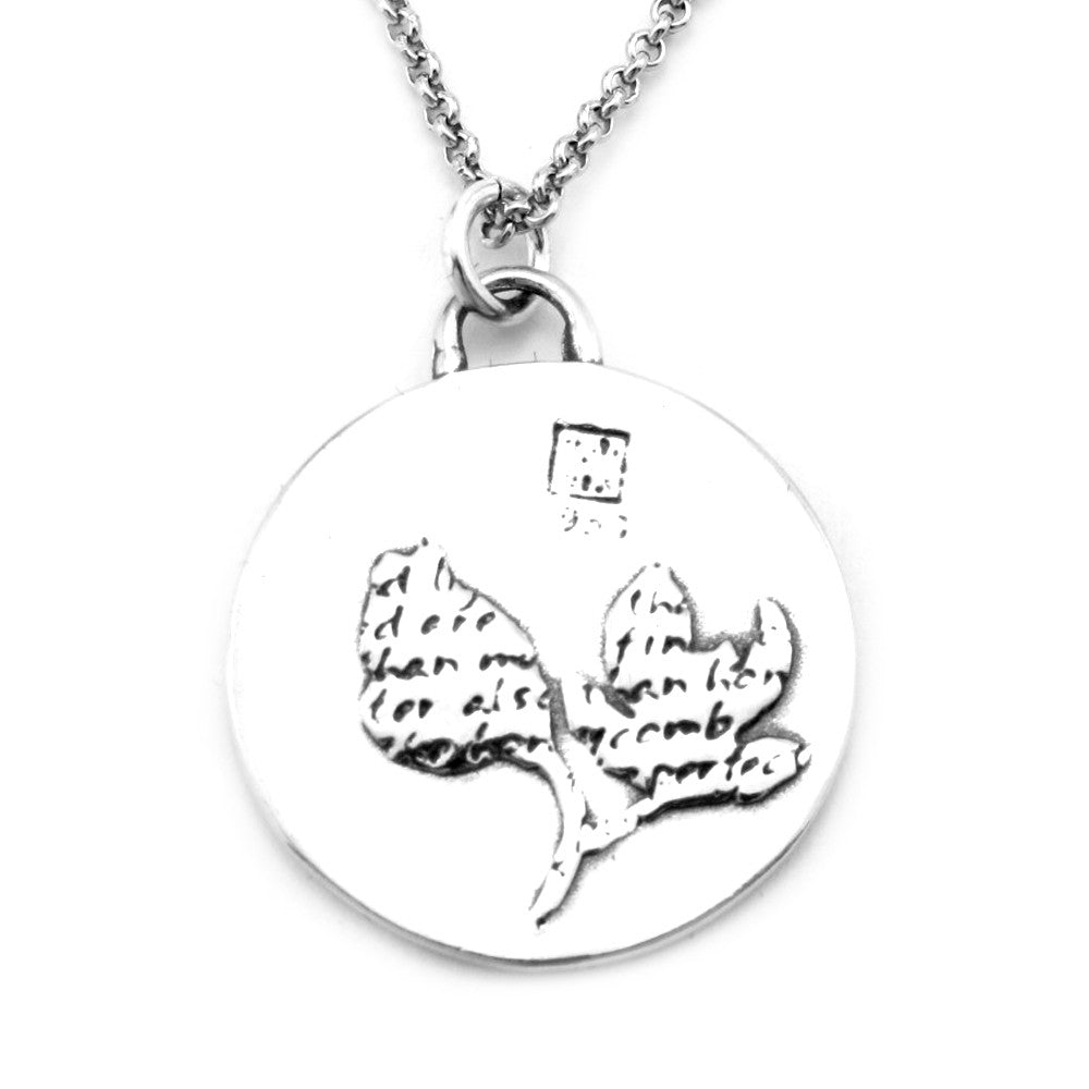 Magnolia Sterling Silver Large Pendant Necklace (Sweetness quote) - Kevin N Anna
