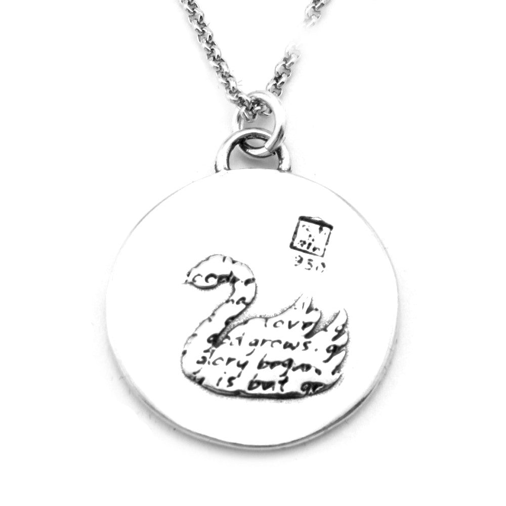 Swan Sterling Silver Large Pendant Necklace (Grace quote) - Kevin N Anna