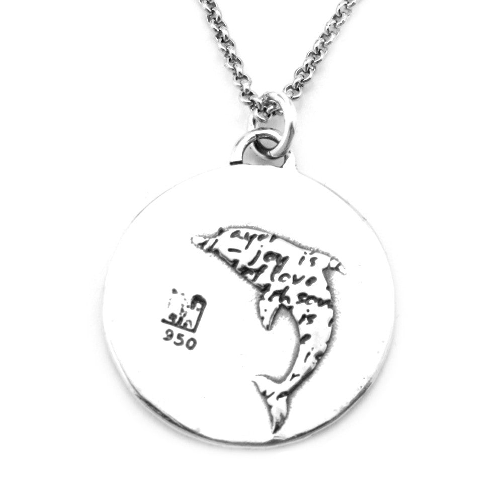 Dolphin Sterling Silver Large Pendant Necklace (Joy quote) - Kevin N Anna