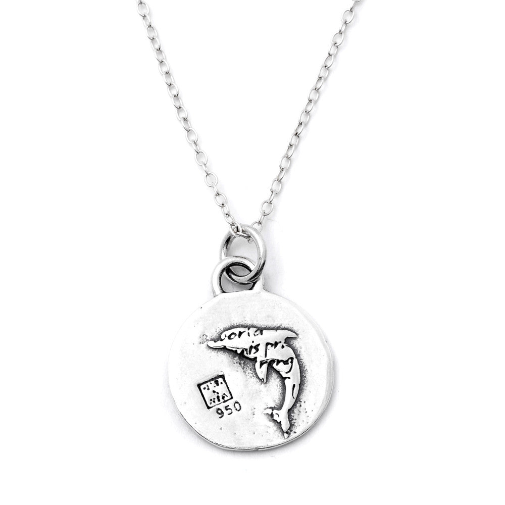 Dolphin Sterling Silver Small Pendant Necklace (Joy quote) - Kevin N Anna