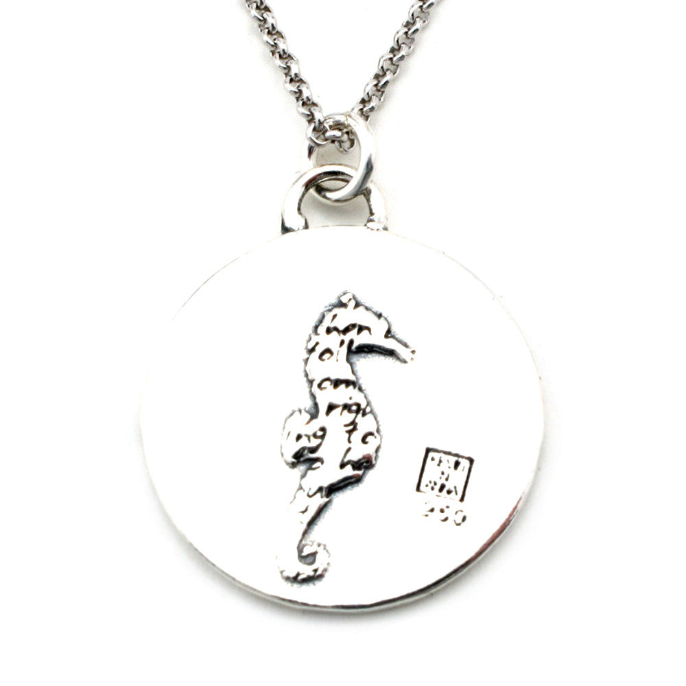 Seahorse Sterling Silver Large Pendant Necklace (Confidence quote) - Kevin N Anna