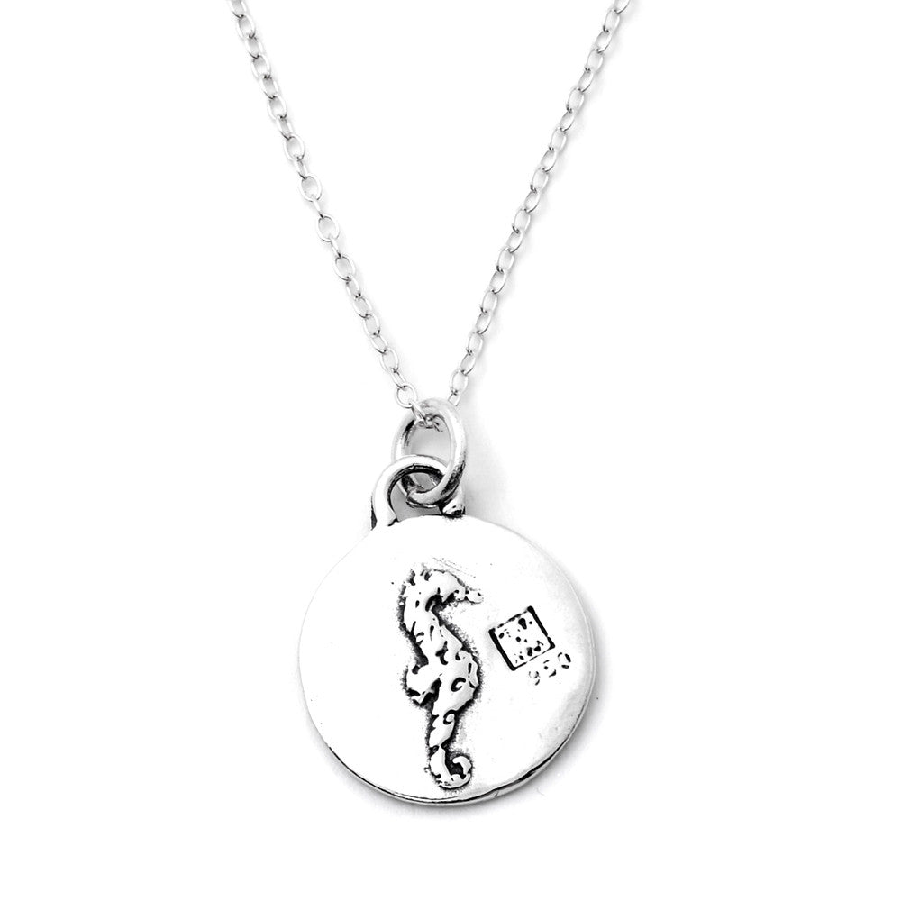 Seahorse Sterling Silver Small Pendant Necklace (Confidence quote) - Kevin N Anna