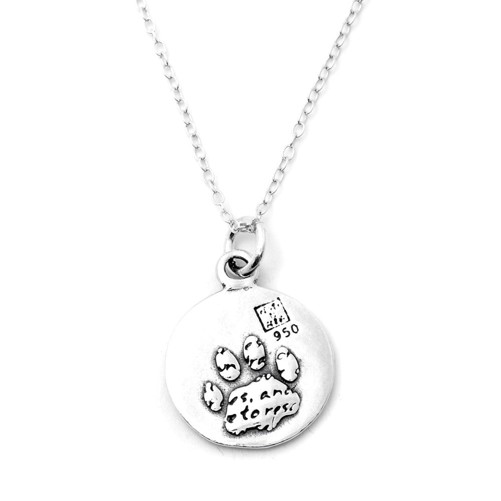 Paw Sterling Silver Small Pendant Necklace (Rescue quote) - Kevin N Anna