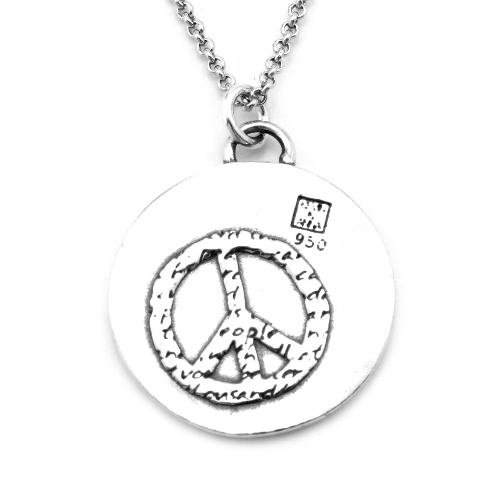 Peace Sterling Silver Large Pendant Necklace (Peace quote) - Kevin N Anna