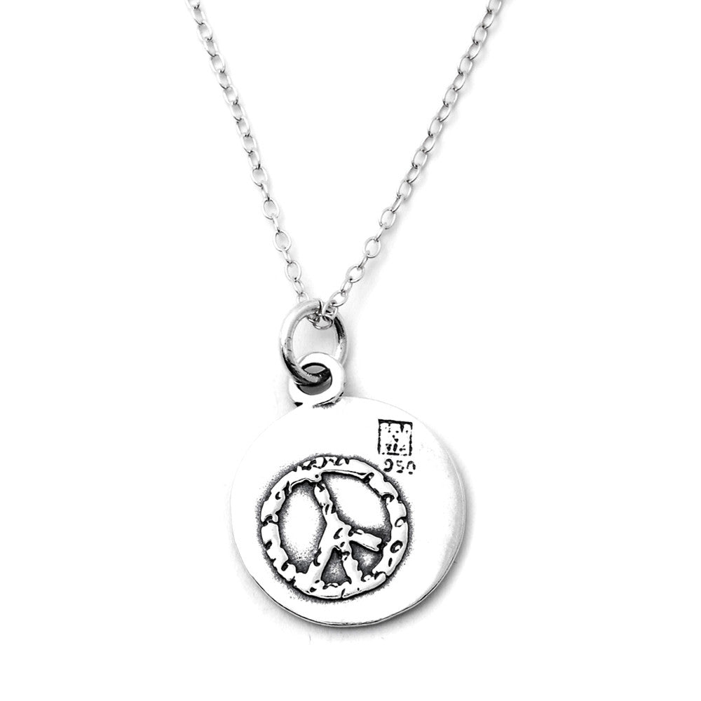 Peace Sterling Silver Small Pendant Necklace (Peace quote) - Kevin N Anna