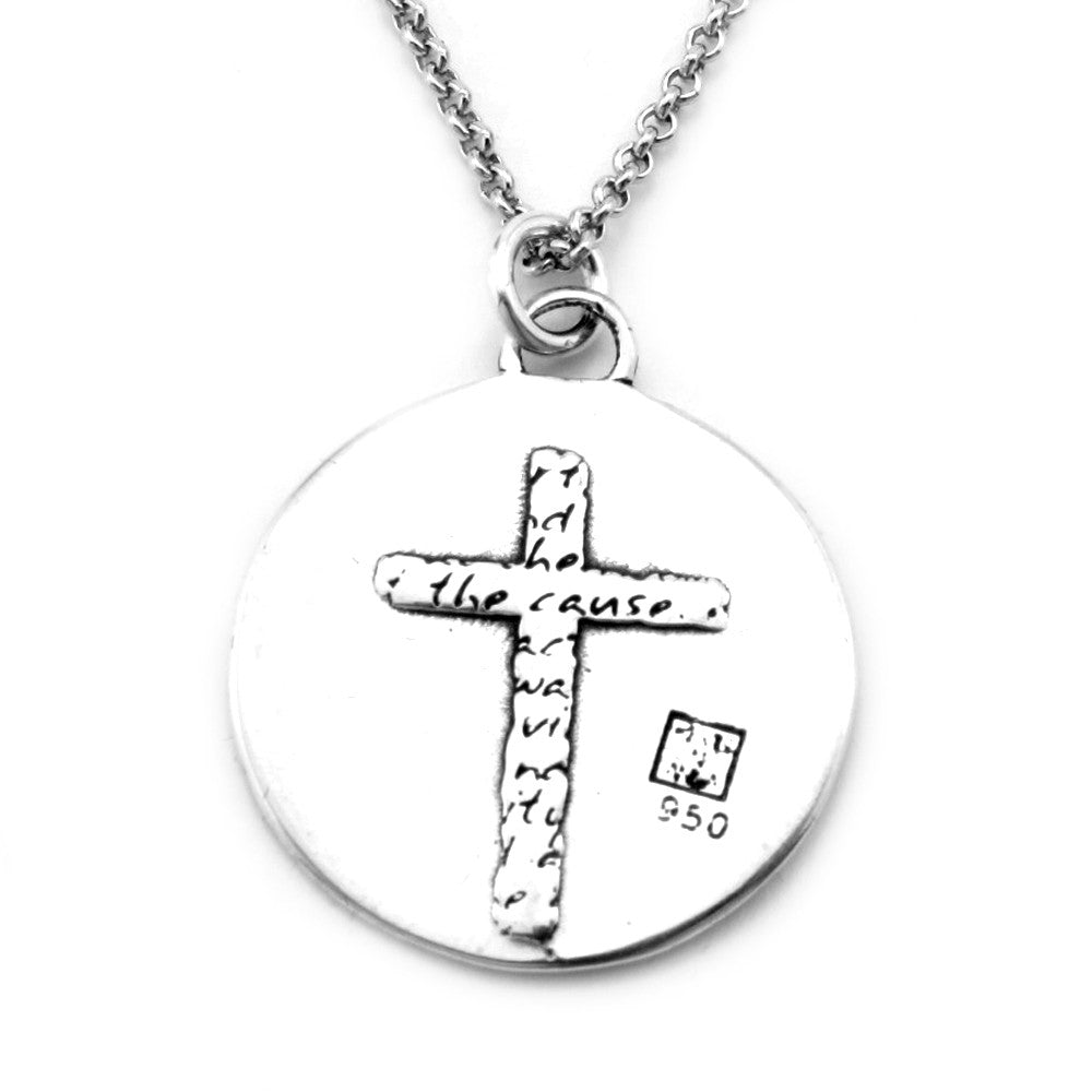 Cross Sterling Silver Large Pendant Necklace (Charity quote) - Kevin N Anna