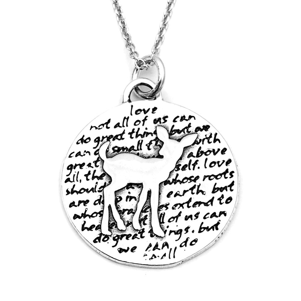 Deer Sterling Silver Large Pendant Necklace (Love quote) - Kevin N Anna