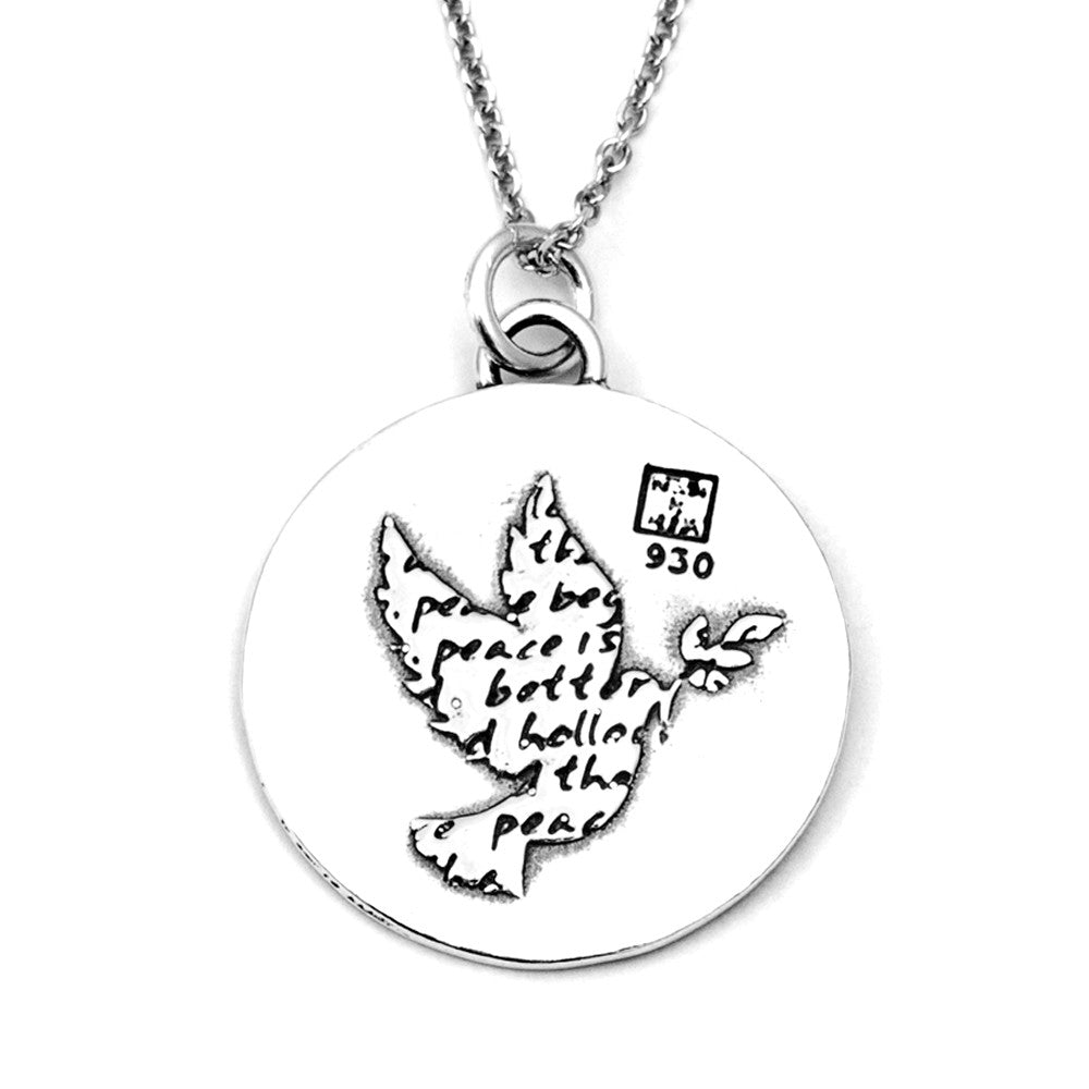 Dove Sterling Silver Large Pendant Necklace (Peace quote) - Kevin N Anna