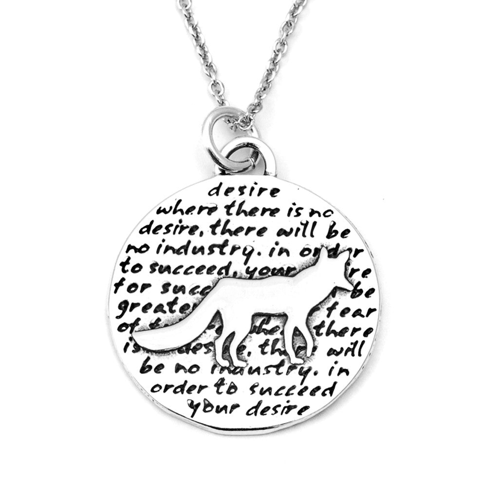 Fox Sterling Silver Large Pendant Necklace (Desire quote) - Kevin N Anna