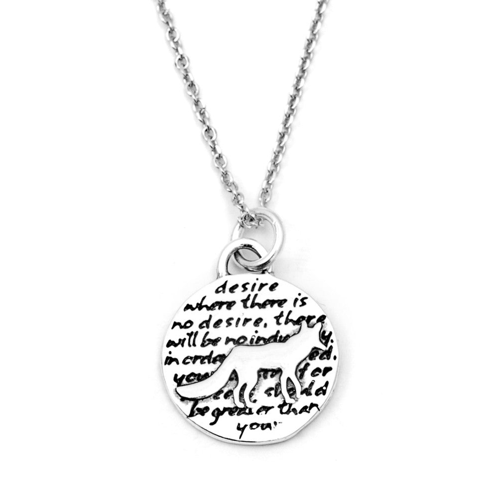 Fox Sterling Silver Small Pendant Necklace (Desire quote) - Kevin N Anna