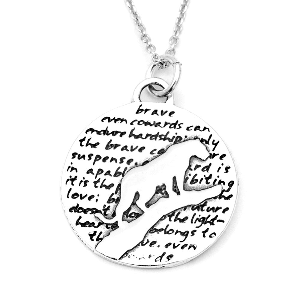Leopard Sterling Silver Large Pendant Necklace (Brave quote) - Kevin N Anna
