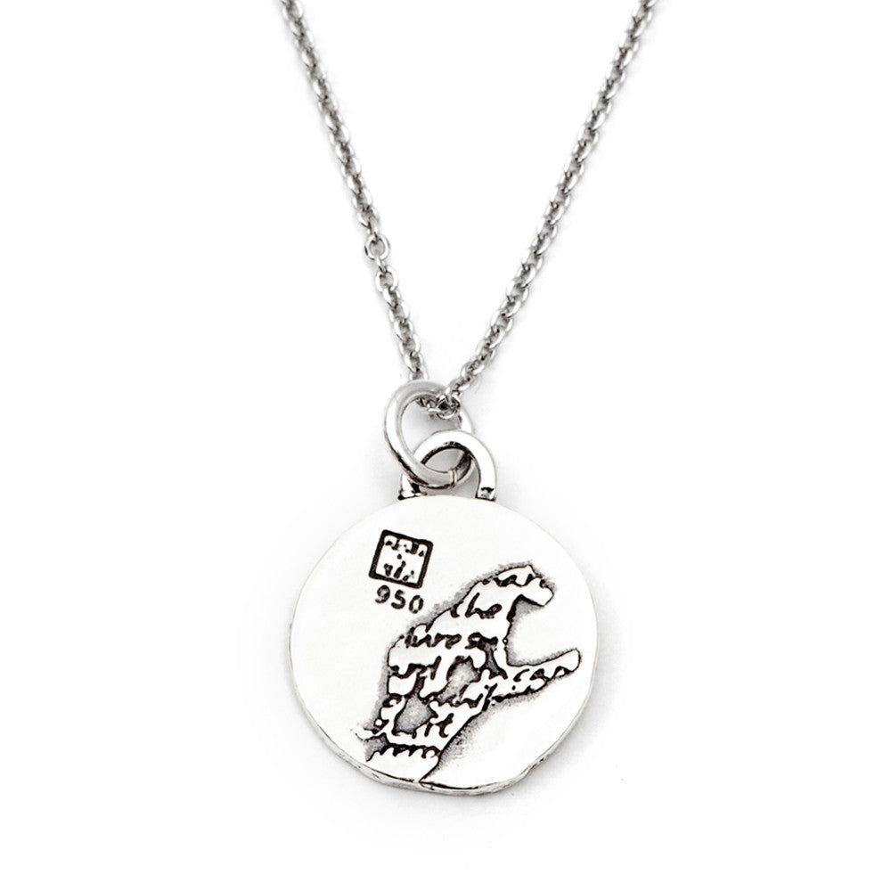 Leopard Sterling Silver Small Pendant Necklace (Brave quote) - Kevin N Anna