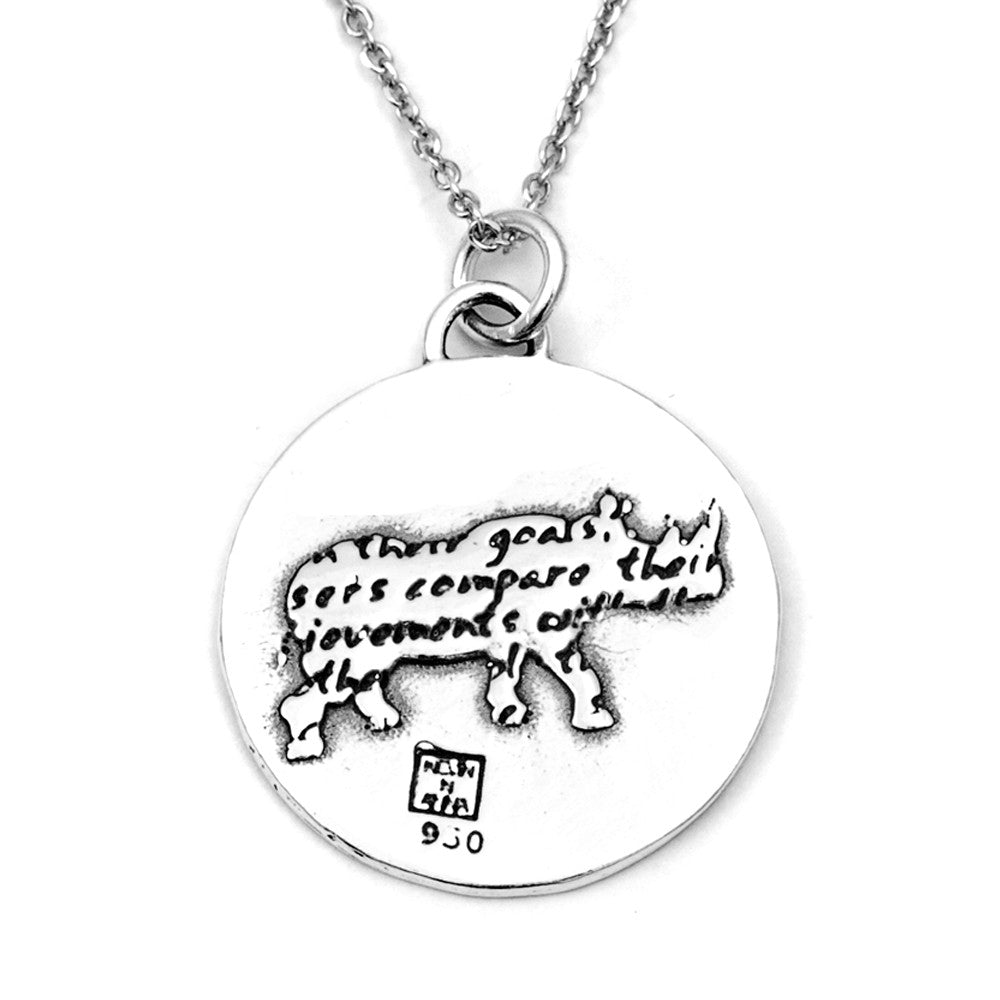 Rhino Sterling Silver Large Pendant Necklace (Achievements quote) - Kevin N Anna