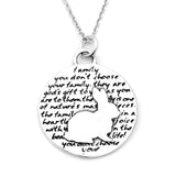 Rabbit Sterling Silver Large Pendant Necklace (Family quote) - Kevin N Anna