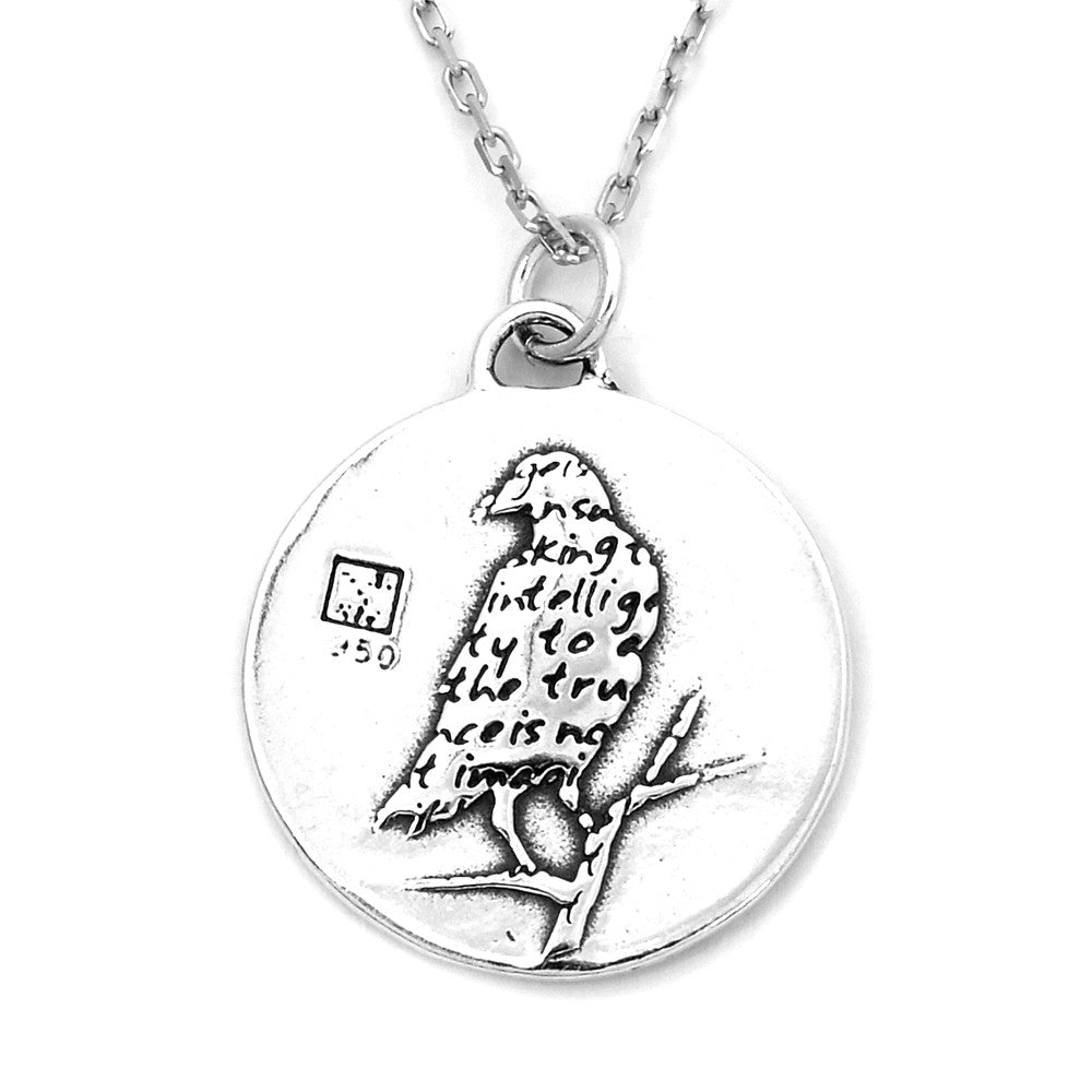 Raven Sterling Silver Large Pendant Necklace (Intelligence quote) - Kevin N Anna