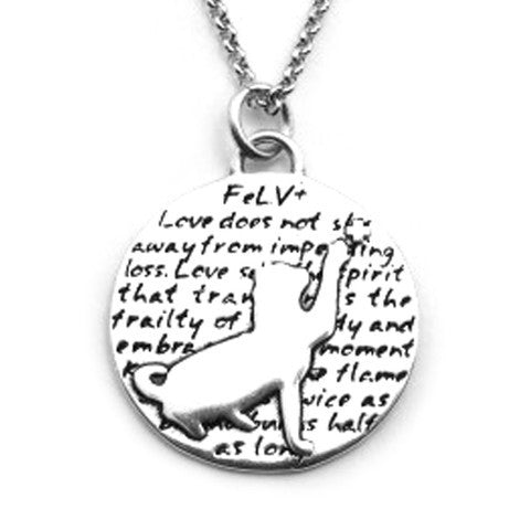 FeLV+ Cat Sterling Silver Large Pendant Necklace - Kevin N Anna
