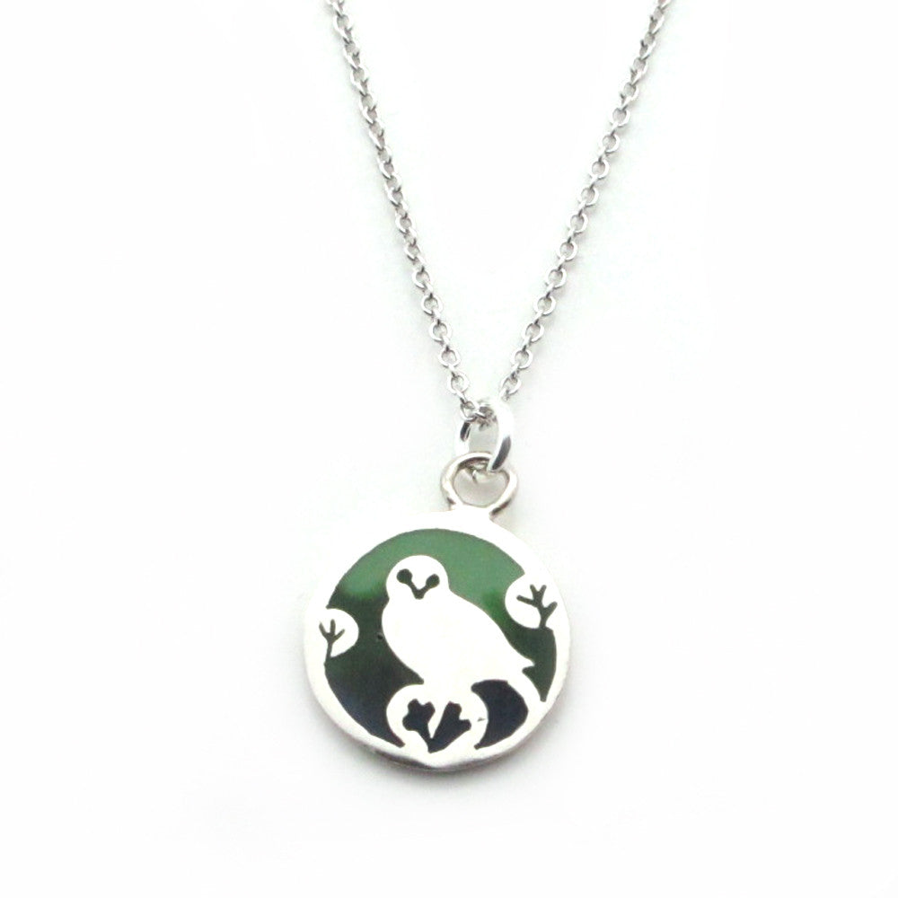 Owl (Green Epoxy) Sterling Silver Small Pendant Necklace (Chain Length Option) - Kevin N Anna
