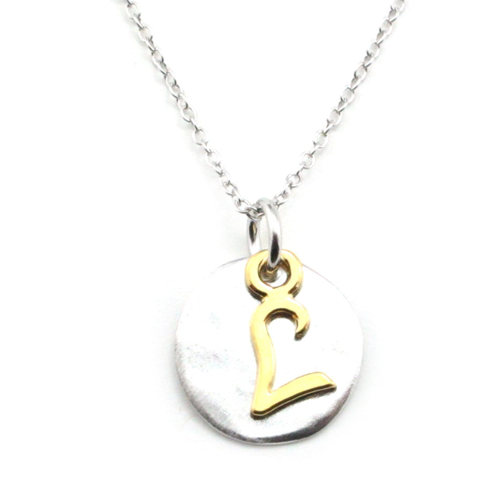 Two Tone Initial Necklace-Initial L