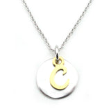 Two Tone Initial Necklace-Initial C