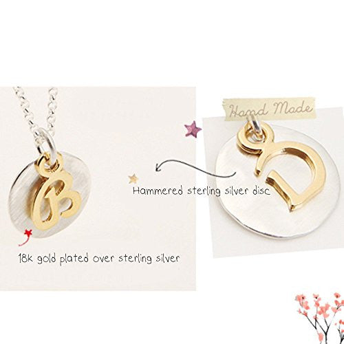 Two Tone Initial Necklace-Initial E - Kevin N Anna