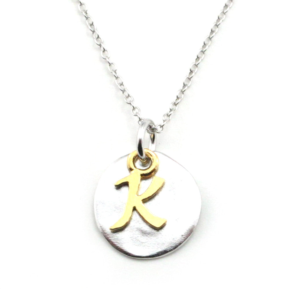 Two Tone Initial Necklace-Initial K