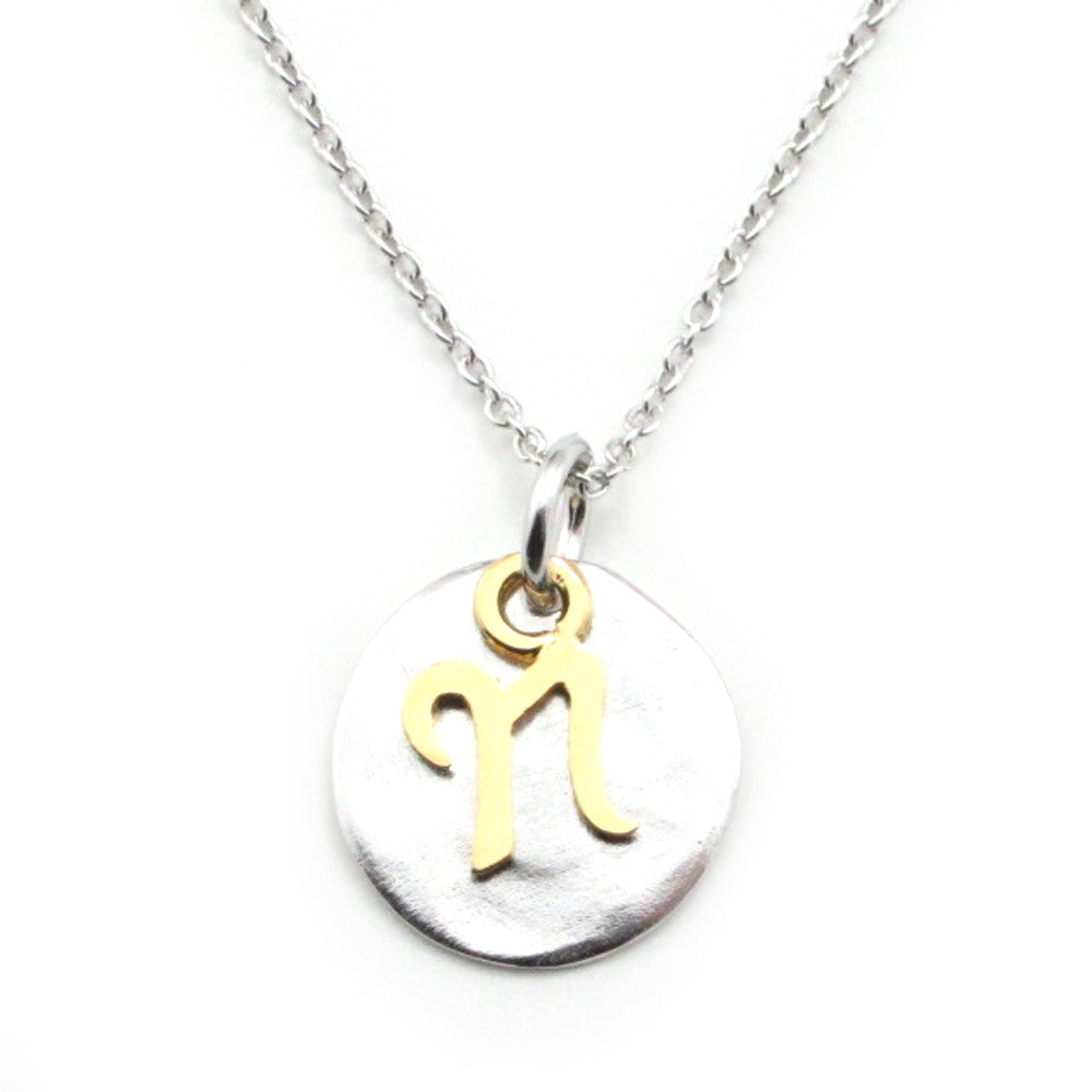 Two Tone Initial Necklace-Initial N - Kevin N Anna