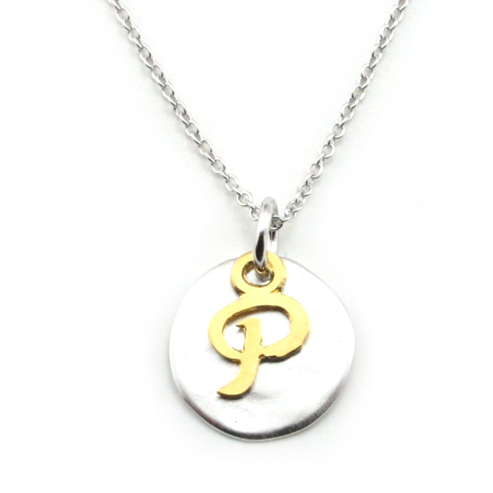 Two Tone Initial Necklace-Initial P