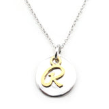 Two Tone Initial Necklace-Initial R