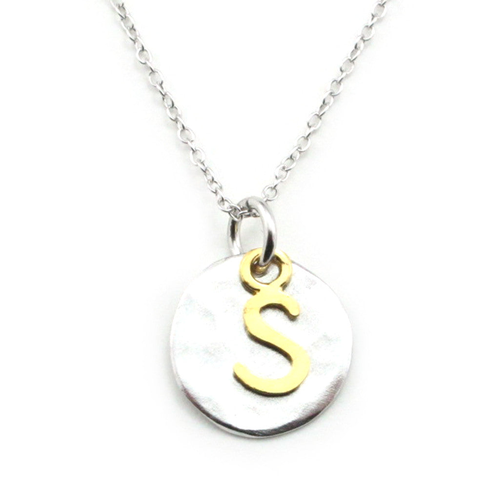 Two Tone Initial Necklace-Initial S
