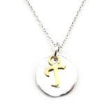 Two Tone Initial Necklace-Initial T