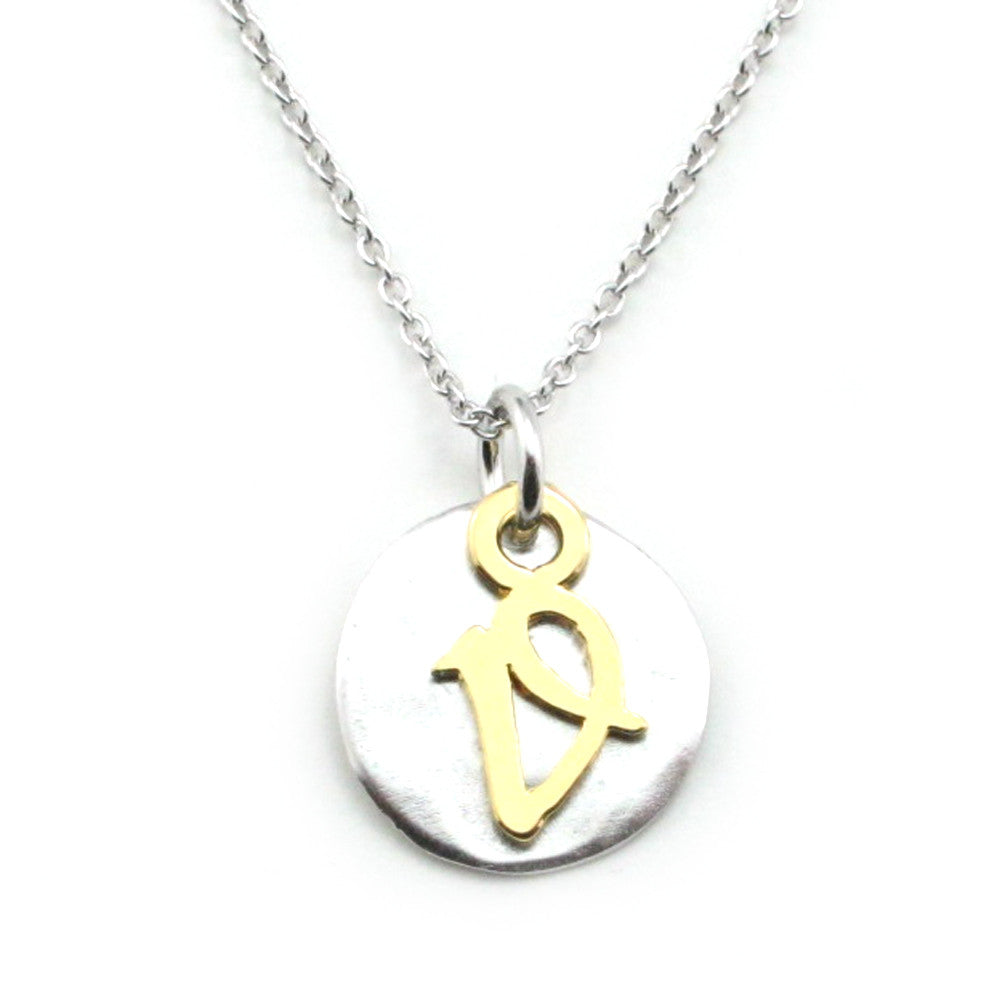 Two Tone Initial Necklace-Initial V - Kevin N Anna