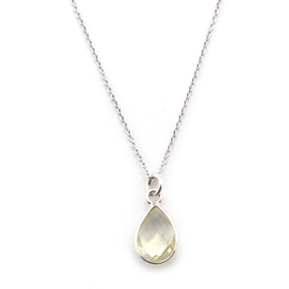 Lemon Topaz Bezel Sterling Silver Pendant Necklace - Kevin N Anna