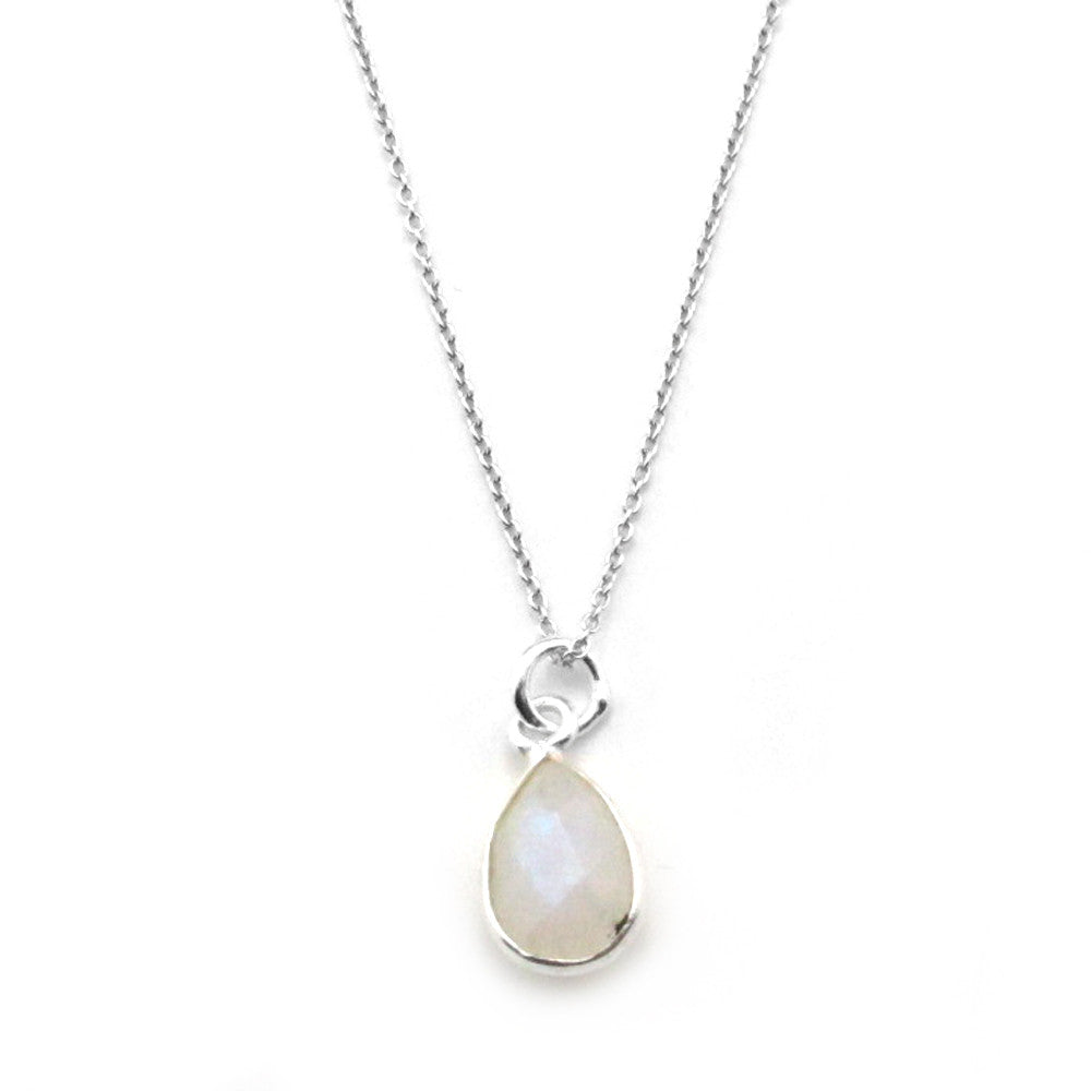Moonstone Bezel Sterling Silver Pendant Necklace - Kevin N Anna