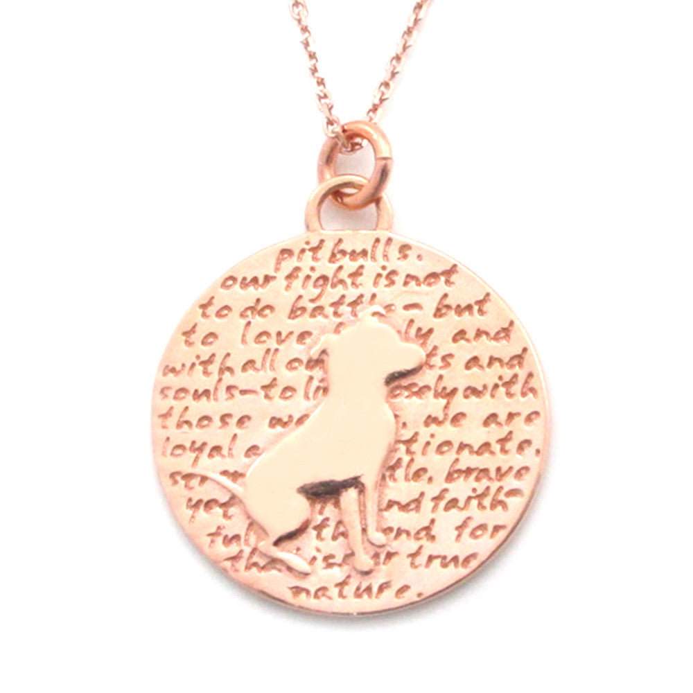 Rose Gold Pitbull (pit bull quote) Sterling Silver Large Pendant Necklace - Kevin N Anna