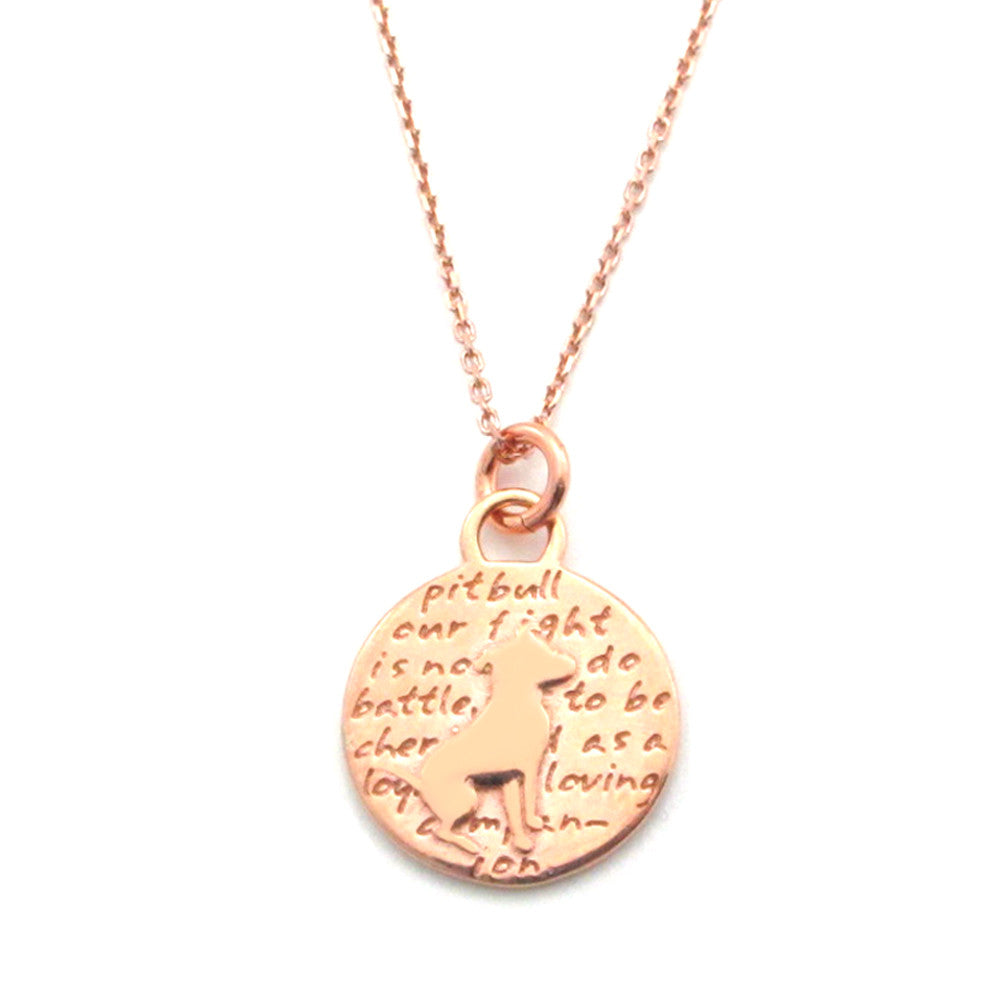 Rose Gold Pitbull (pit bull quote) Sterling Silver Small Pendant Necklace - Kevin N Anna