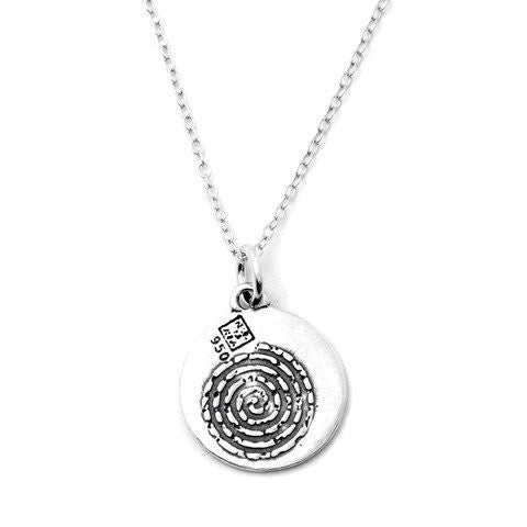 Spiral Sterling Silver Small Pendant Necklace (Courage quote) - Kevin N Anna