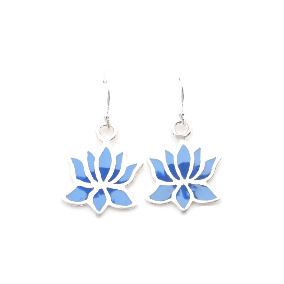 Sterling Silver Lotus Earrings (hand pigmented) - Kevin N Anna