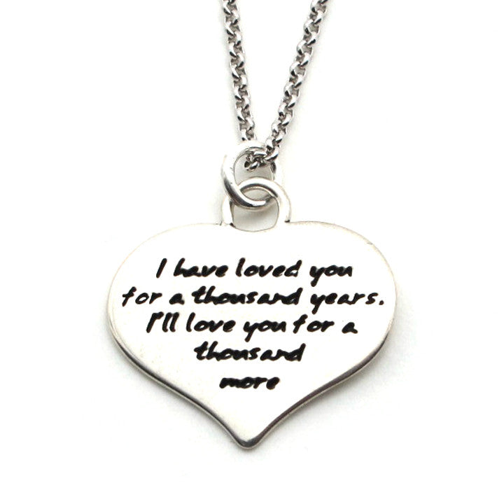 LOVE Quote Heart Shape Pendant Necklace - Kevin N Anna