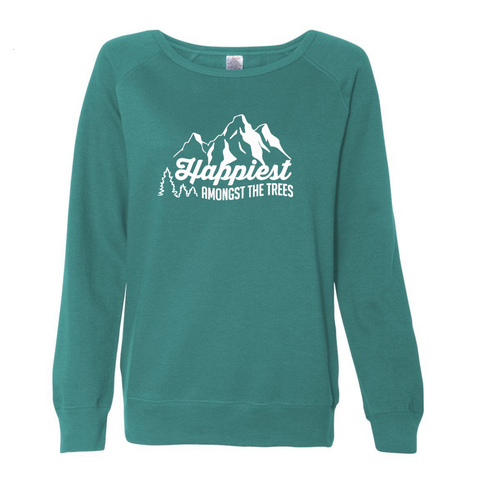 Happiest Amongst The Trees Women's Crew Neck - Teal