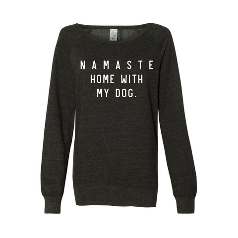 Namaste Home With My Dog Crew Neck - Charcoal