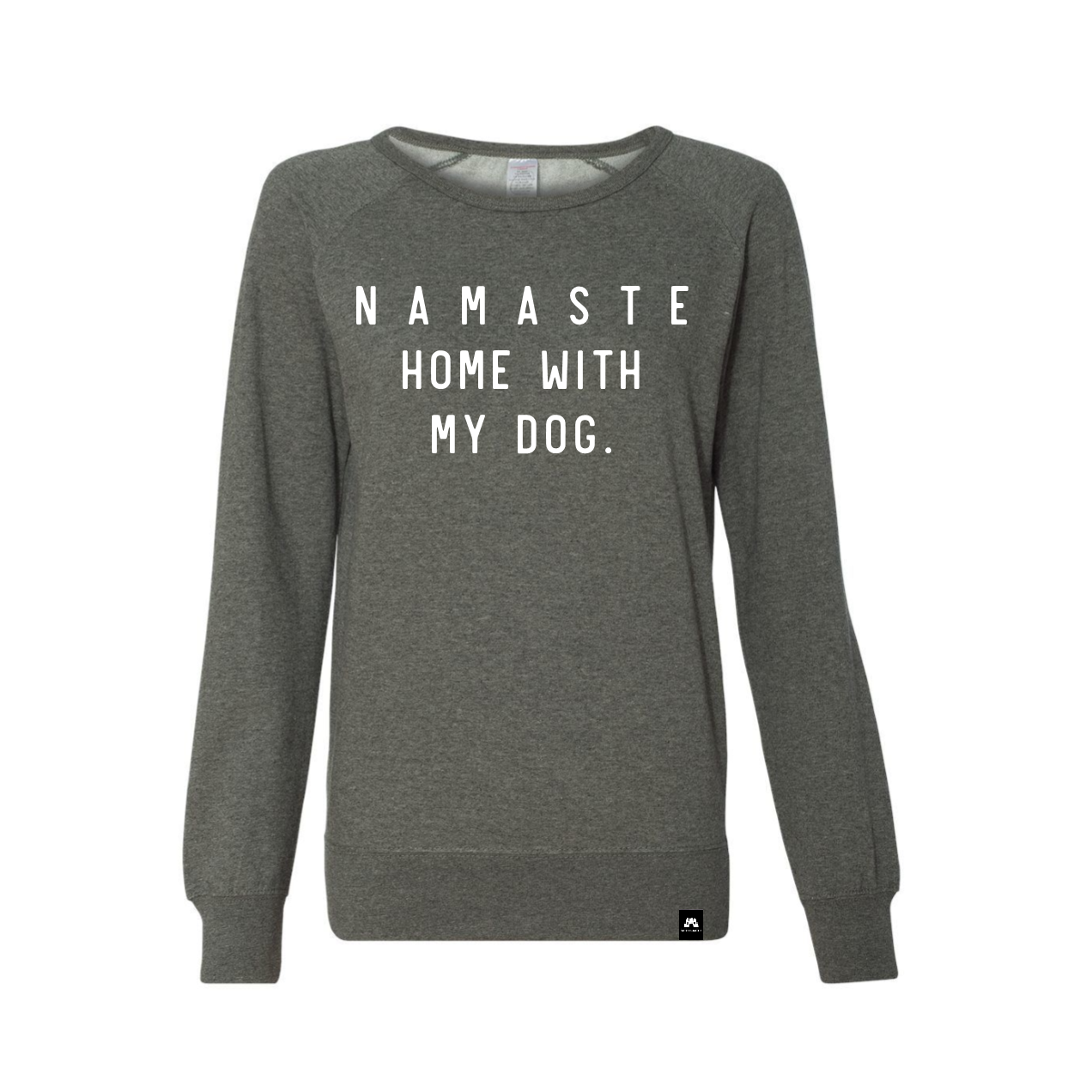 Namaste Home With My Dog Crew Neck - Grey