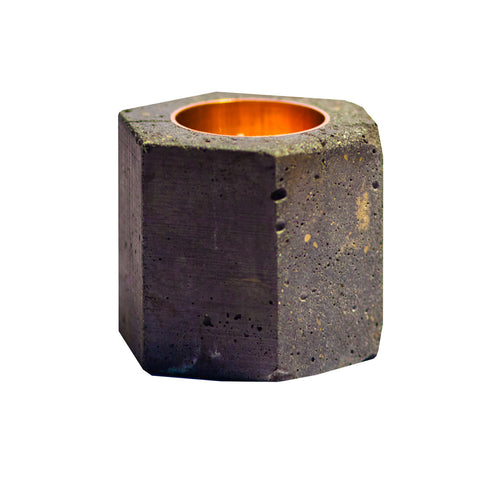 Copper Prism Concrete Candle Holder